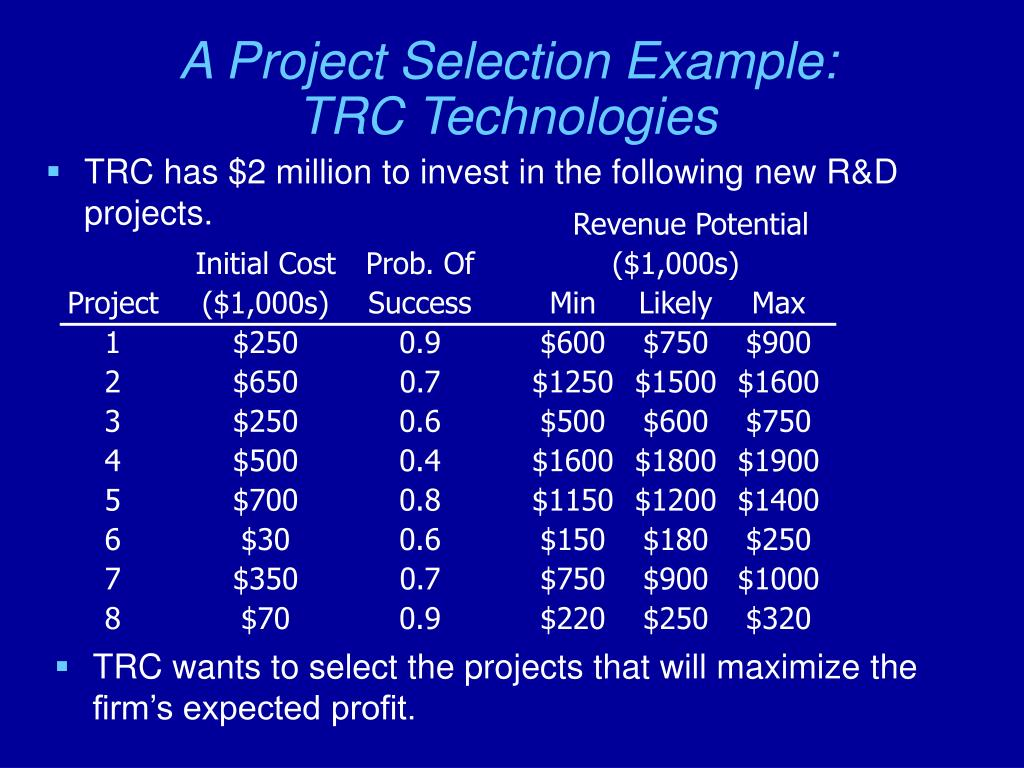 A Project Selection Example: