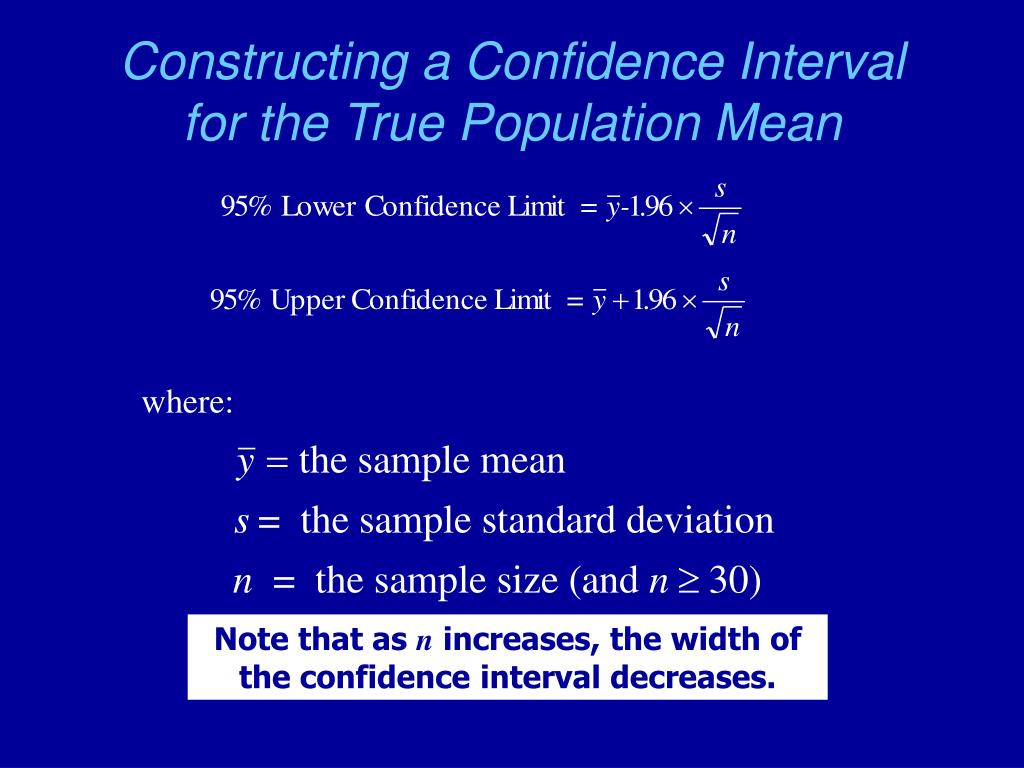 Constructing a Confidence Interval for the True Population Mean