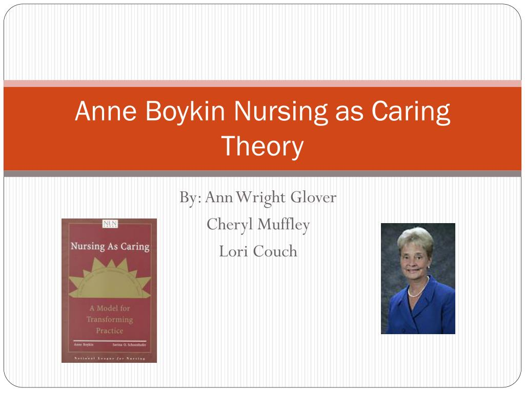 boykin s theory of nursing as caring Boykin, a, & schoenhofer, s o (2001) nursing as caring: a model for transforming practice (2e éd) boston  a theory of nursing (2nd ed.