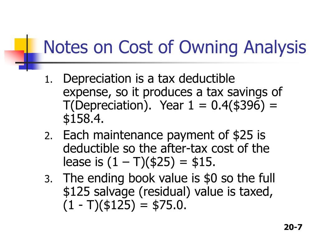 Notes on Cost of Owning Analysis