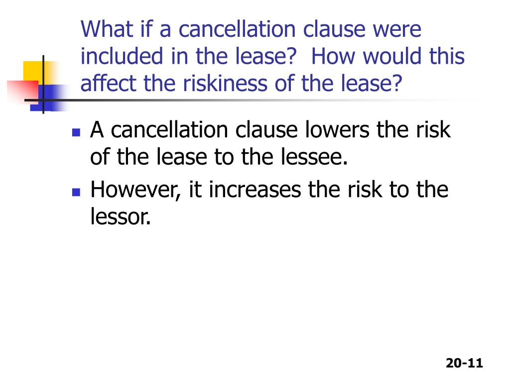 What if a cancellation clause were included in the lease?  How would this affect the riskiness of the lease?
