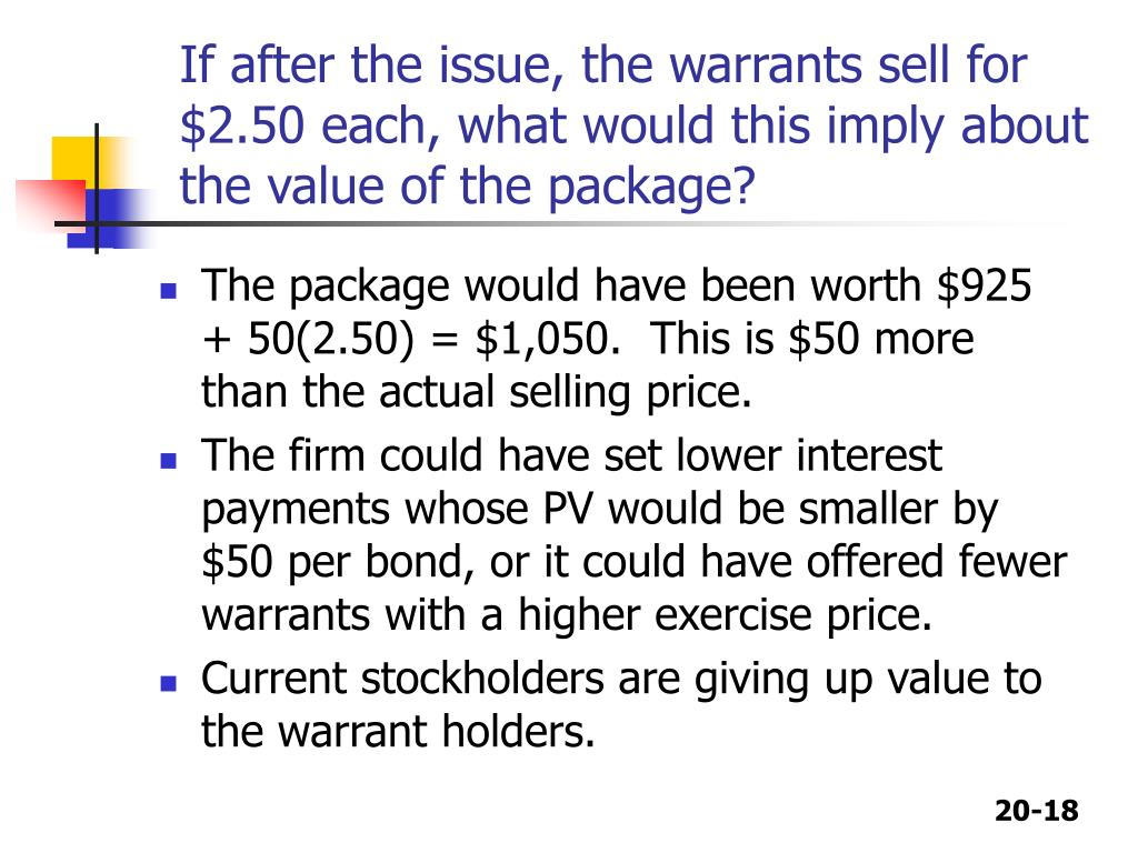 If after the issue, the warrants sell for $2.50 each, what would this imply about the value of the package?