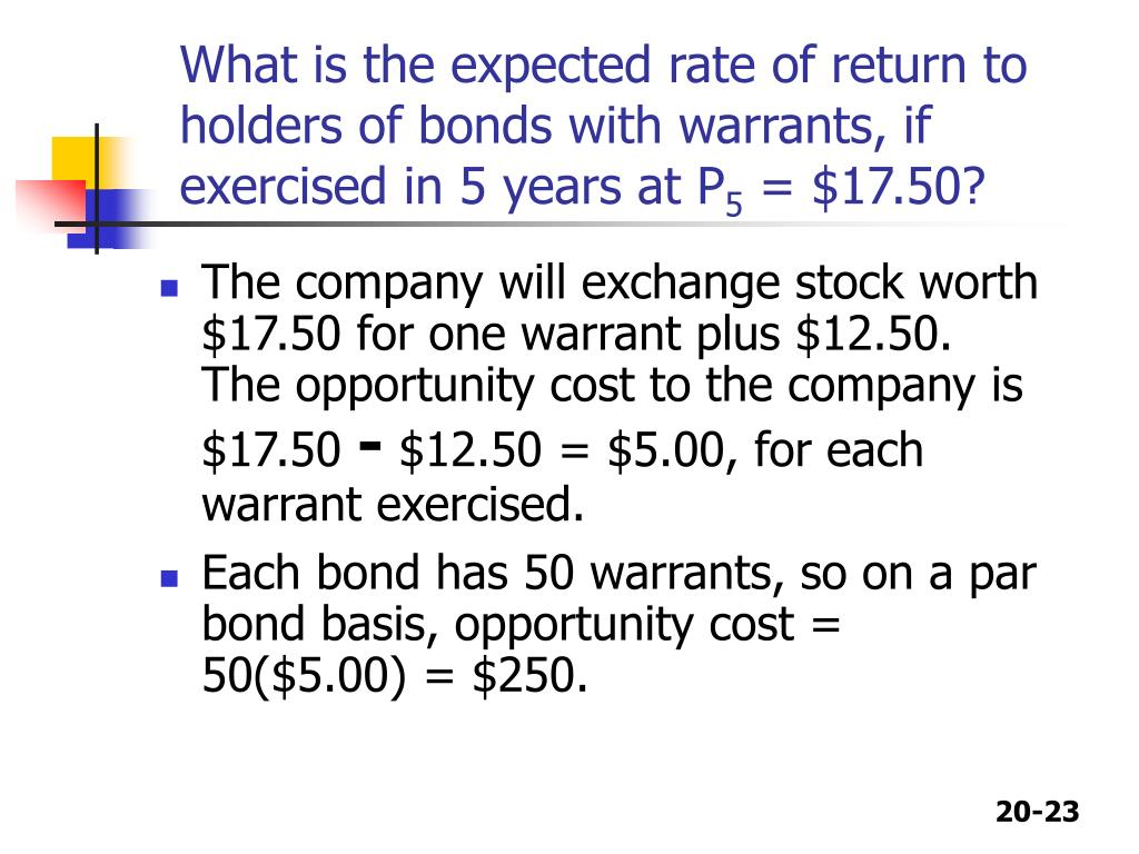 What is the expected rate of return to holders of bonds with warrants, if exercised in 5 years at P