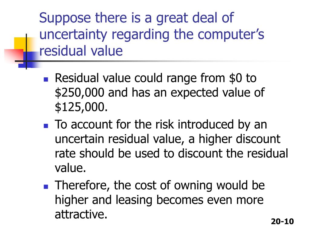 Suppose there is a great deal of uncertainty regarding the computer's residual value