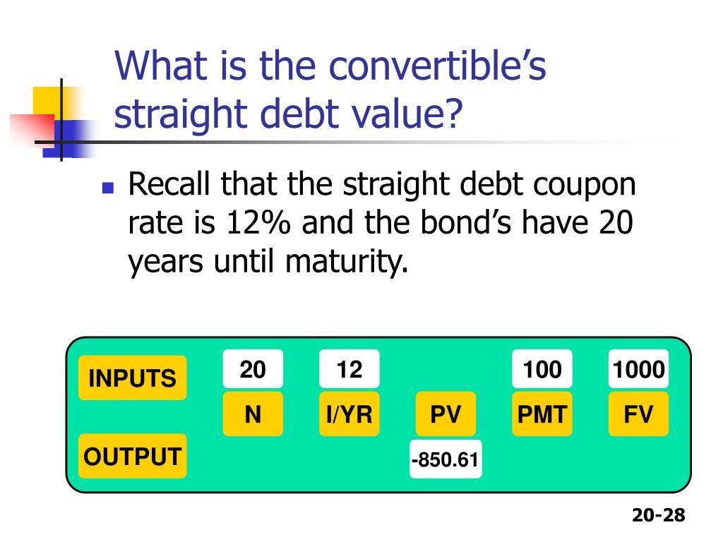 What is the convertible's straight debt value?