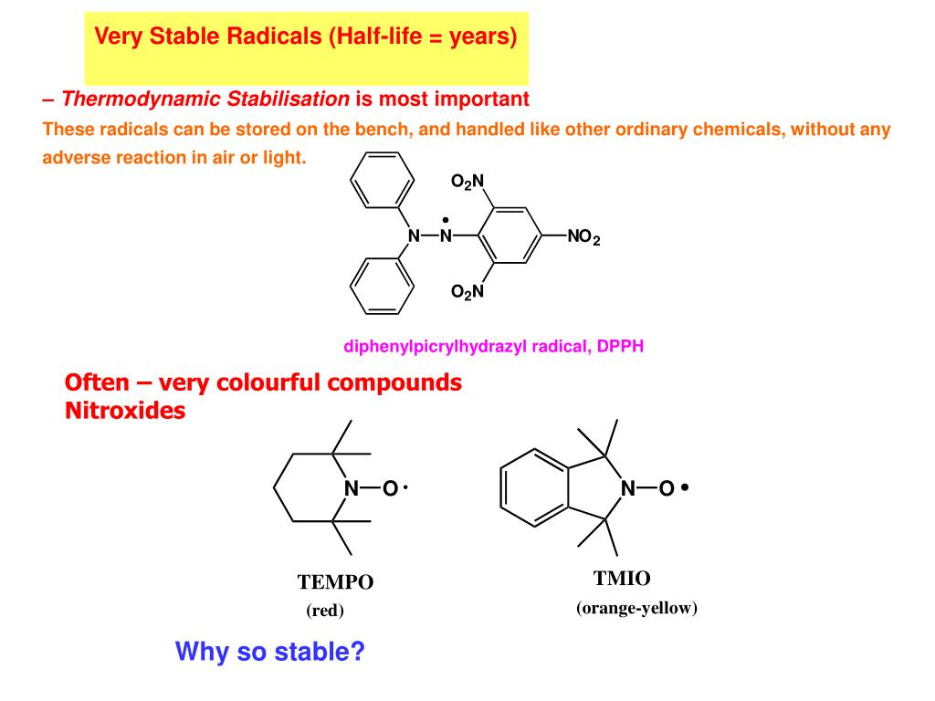 Very Stable Radicals (Half-life = years)