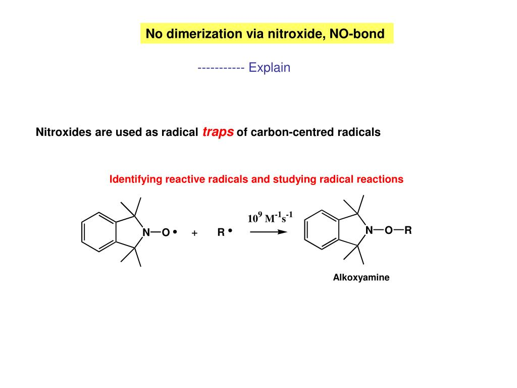 No dimerization via nitroxide, NO-bond