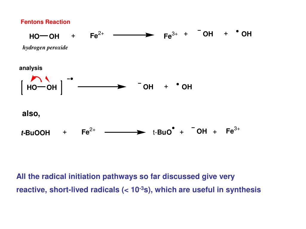 All the radical initiation pathways so far discussed give very reactive, short-lived radicals (< 10