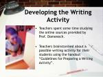 developing the writing activity
