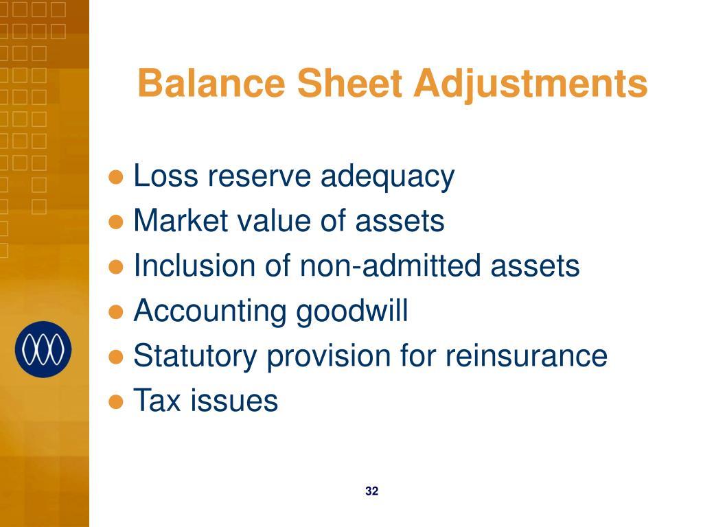 Balance Sheet Adjustments