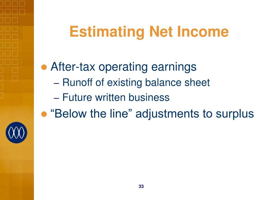 Estimating Net Income