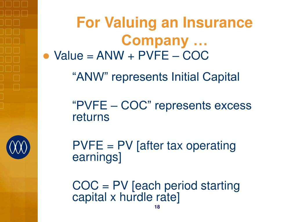 For Valuing an Insurance Company …