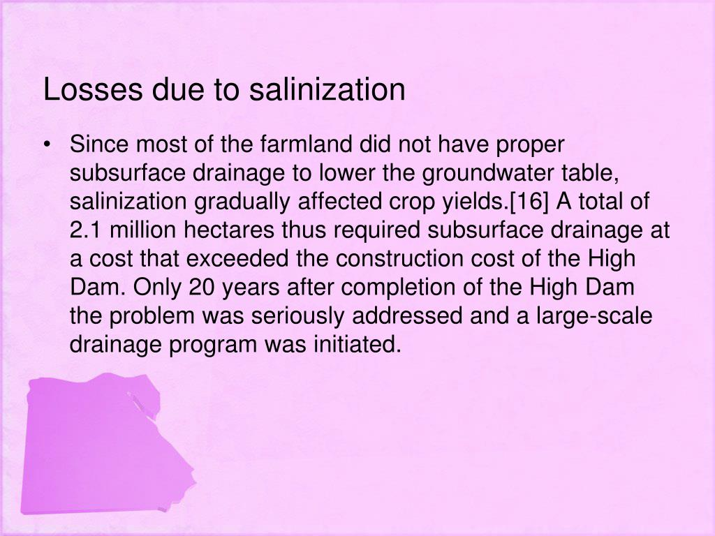 Losses due to salinization