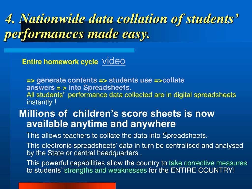 4. Nationwide data collation of students' performances made easy.
