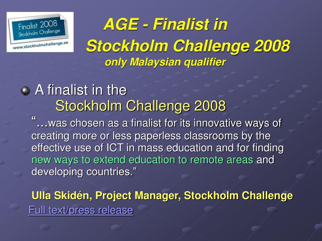 AGE - Finalist in