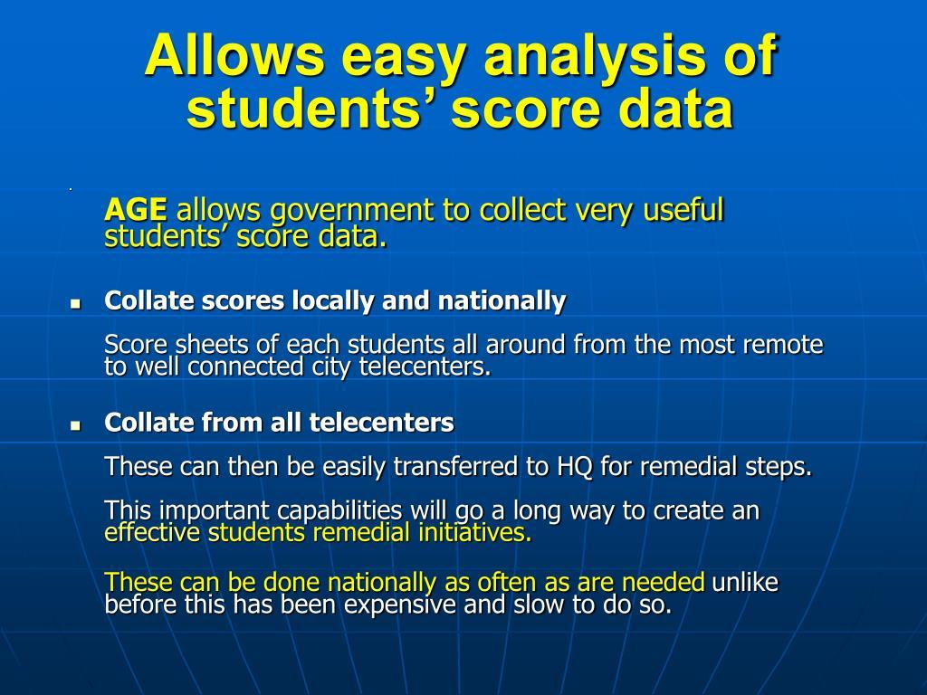 Allows easy analysis of  students' score data