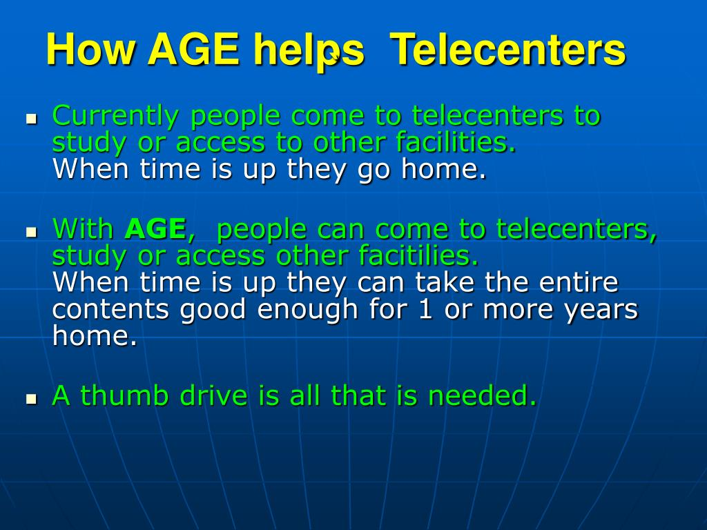 How AGE helps  Telecenters