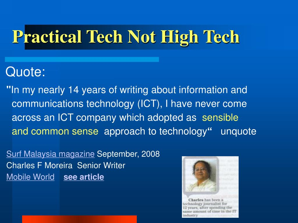 Practical Tech Not High Tech