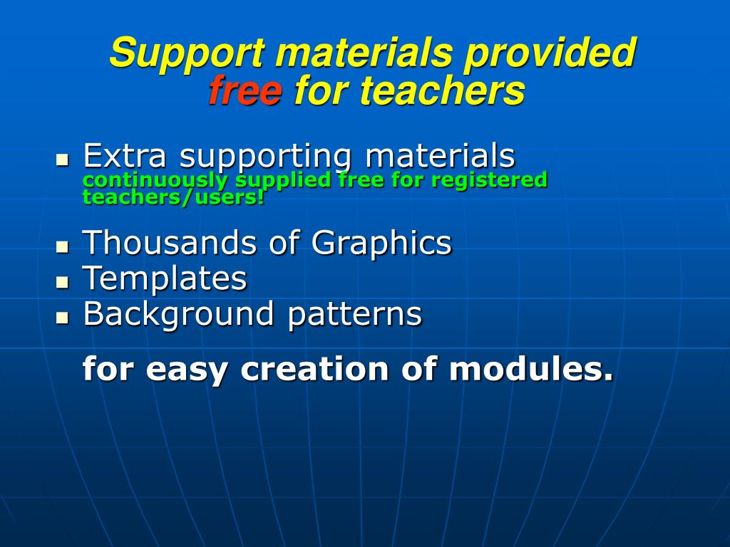 Support materials provided