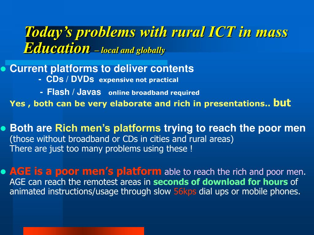 Today's problems with rural ICT in mass Education