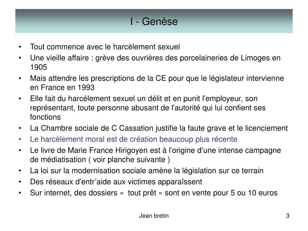 I - Genèse