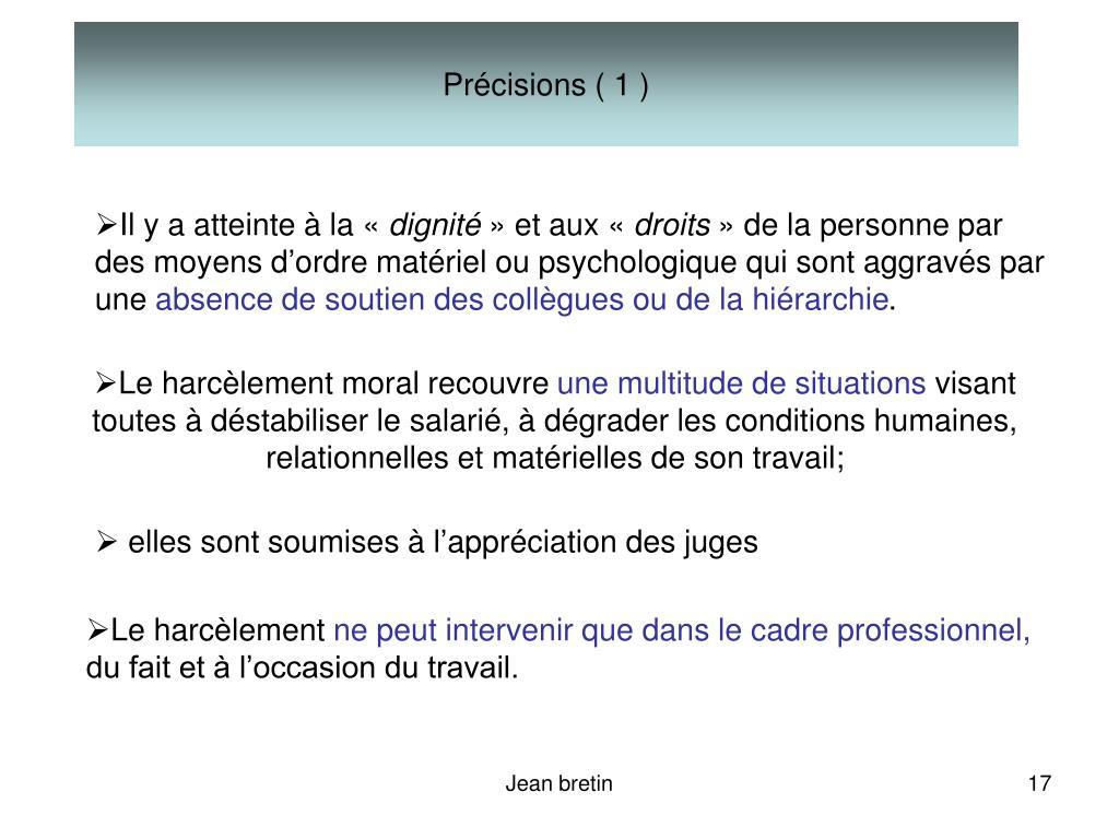 Précisions ( 1 )
