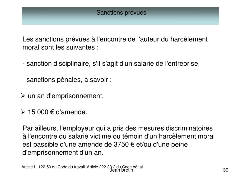 Sanctions prévues