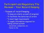 participant and regulatory file reviews your record keeping