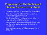 preparing for the participant review portion of the audit