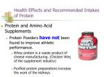 health effects and recommended intakes of protein65