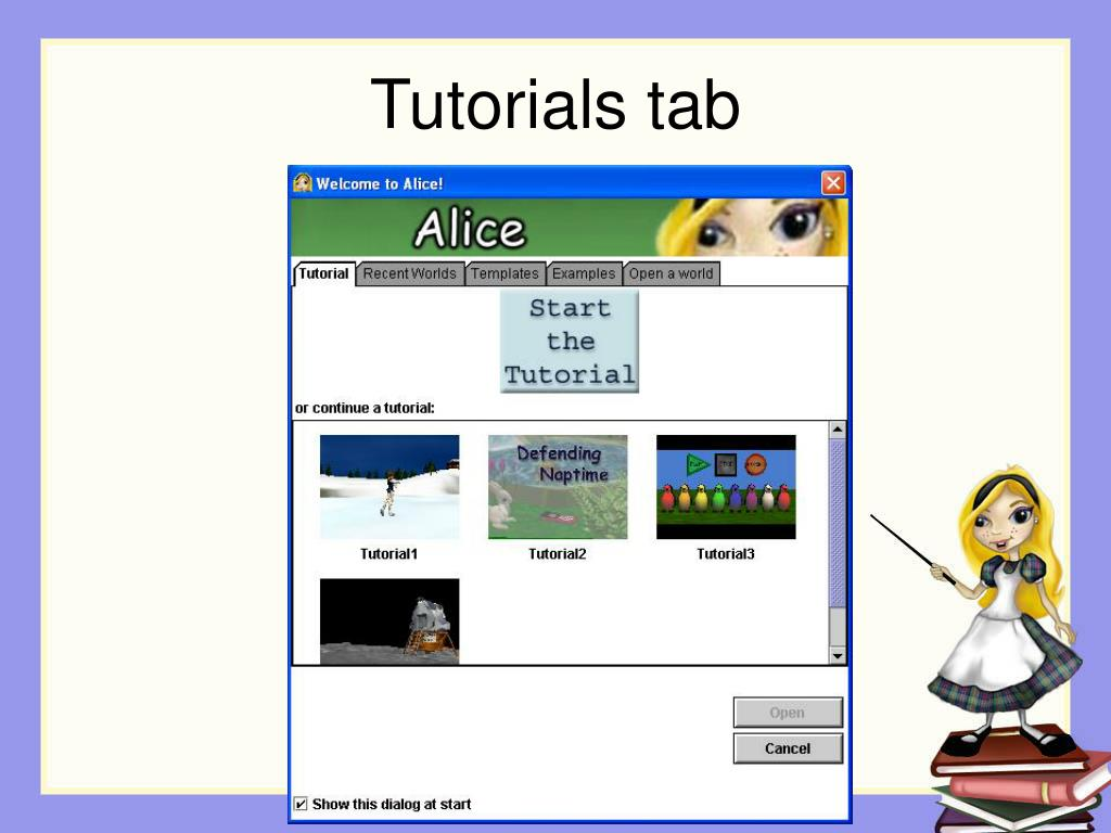 Tutorials tab