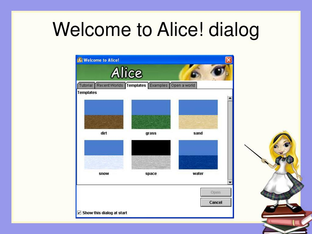 Welcome to Alice! dialog