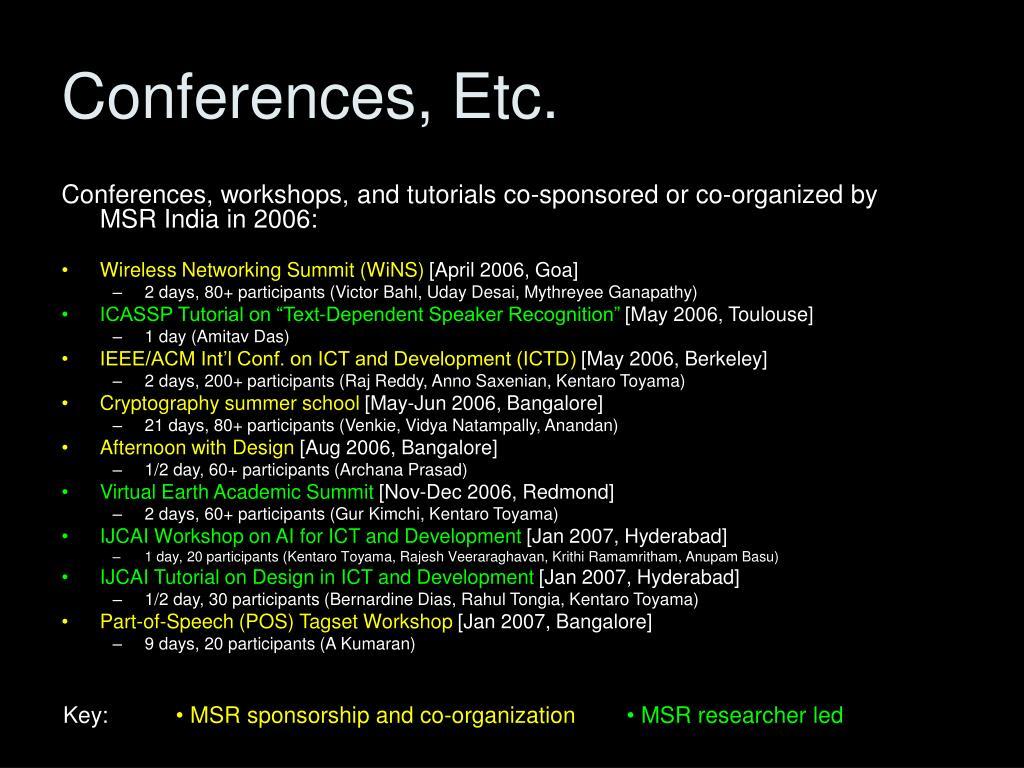 Conferences, Etc.