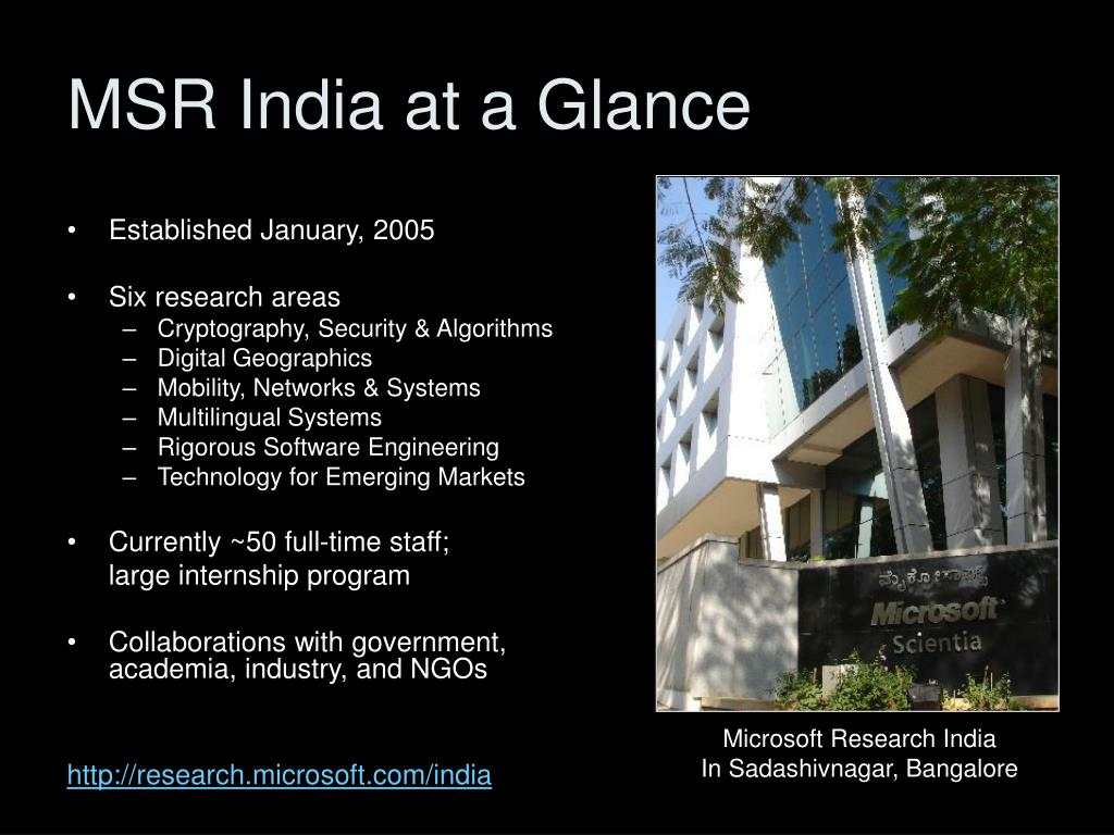 MSR India at a Glance