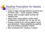 reading prescription for keesha