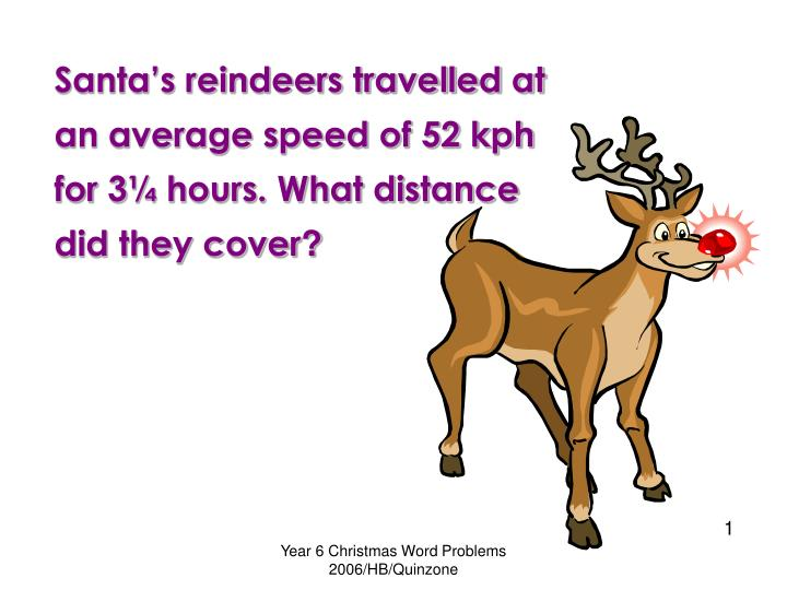 Santa's reindeers travelled at an average speed of 52 kph for 3