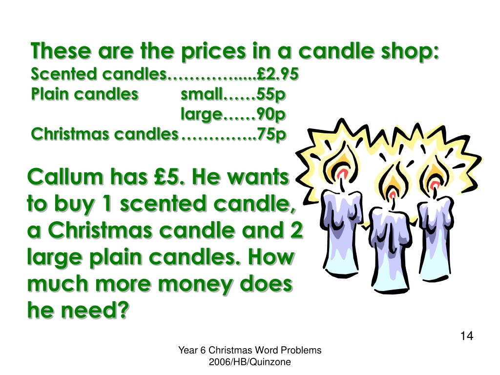 These are the prices in a candle shop: