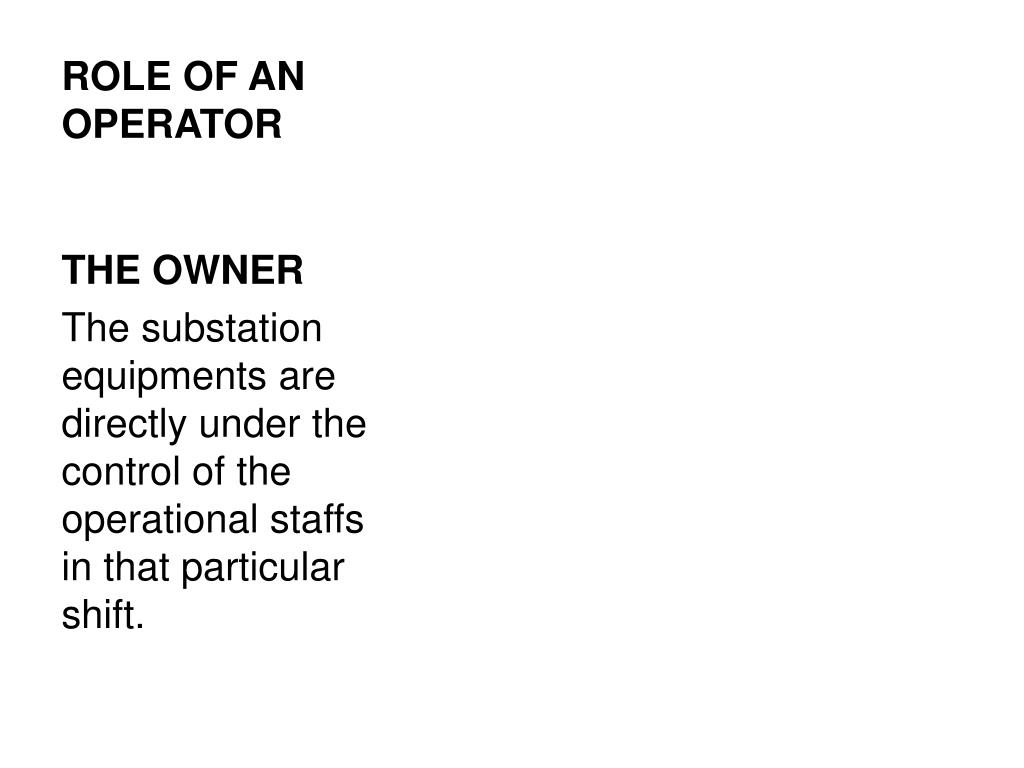role of an operator