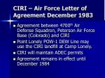 ciri air force letter of agreement december 1983
