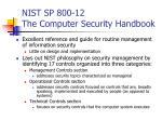 nist sp 800 12 the computer security handbook