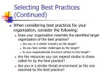 selecting best practices continued