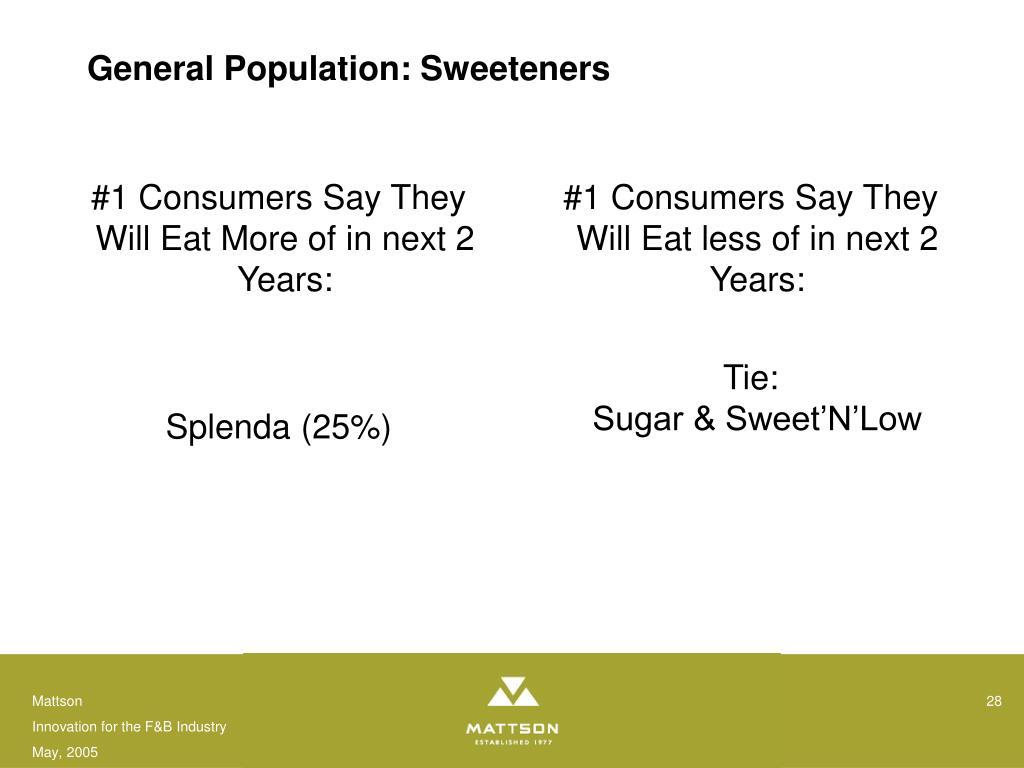 General Population: Sweeteners