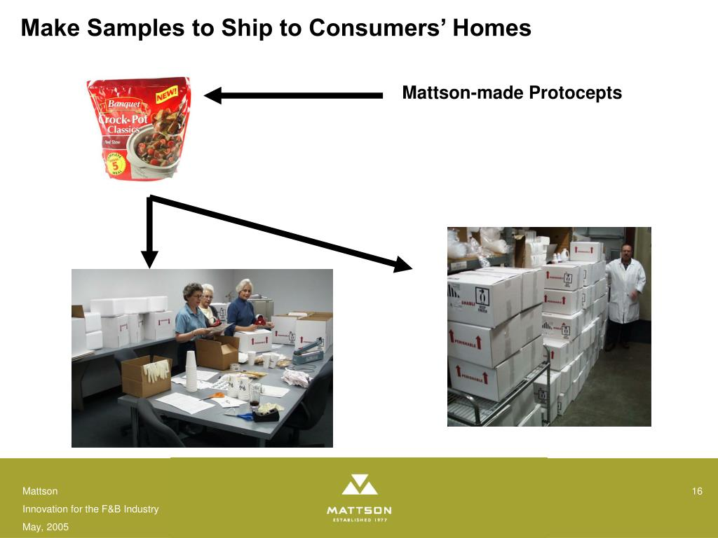Make Samples to Ship to Consumers' Homes