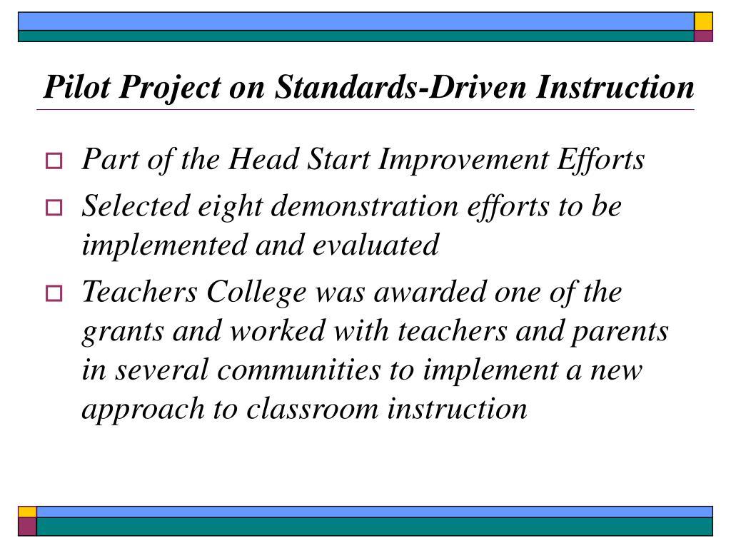 Pilot Project on Standards-Driven Instruction