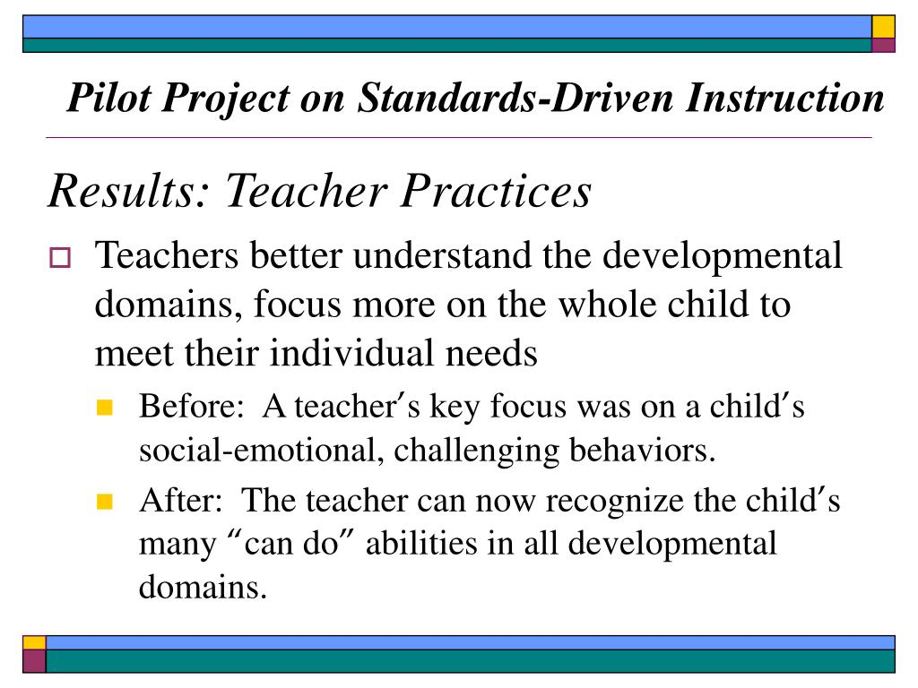 Pilot Project on Standards-Driven Instruction