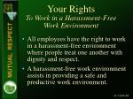 your rights to work in a harassment free work environment