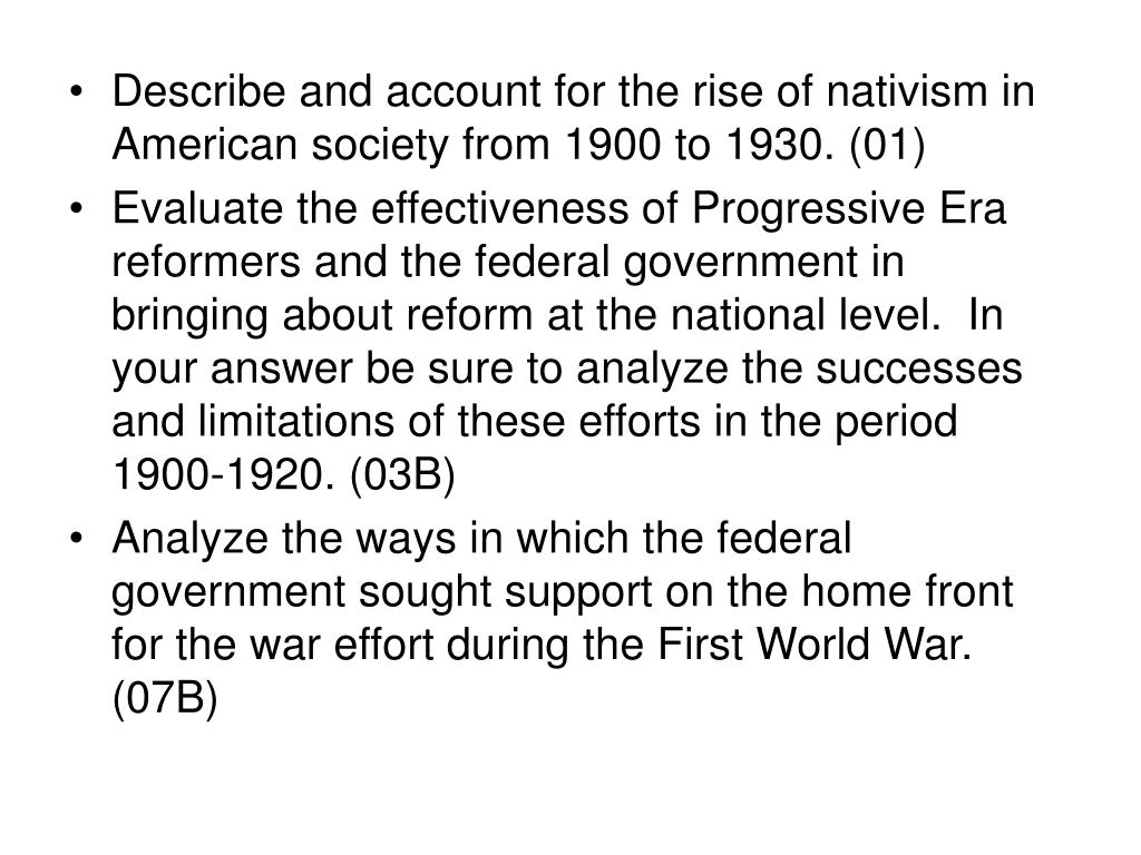 essay on progressives The progressive reform movements were important on american society before and during ww1 there progressive's main points were business regulation, the end of laissez faire, consumer.