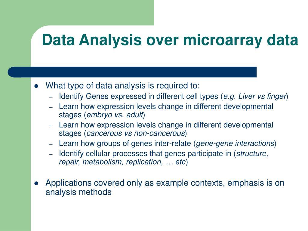 Data Analysis over microarray data