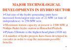 major technological developments in hydro sector