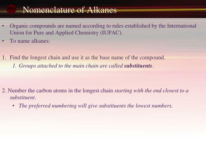 Nomenclature of Alkanes
